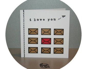 Card LOVE LETTER - Handmade by Lennie card / handmade - cute love card for valentine's day card love letters