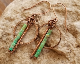 hammered copper and turquoise heishi earrings