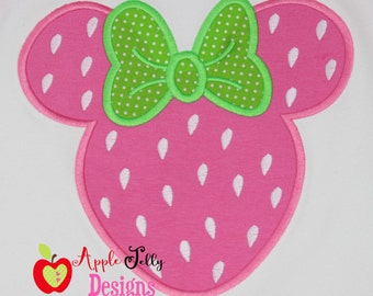 Strawberry Mouse Applique Design