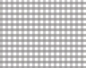 Gray Fabric by the Yard - Fat Quarter Bundle - Quilt Fabric - Gingham Fabric - Gray Gingham - Riley Blake Designs - Medium Gingham Gray