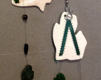Home Decor,Garden, indoor mobile, outdoor wind chime, ceramic wind chime, State of Michigan, Michigan stones