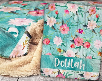 Unique designs and personalized gifts by littlepeonyco on etsy personalized blanket sherpa throw blanket floral pattern blanket flower blanket personalized name negle Gallery