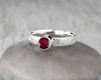 Silver Garnet Ring - Sterling Silver - Handcrafted Artisan Silver Garnet Ring - January Birthstone