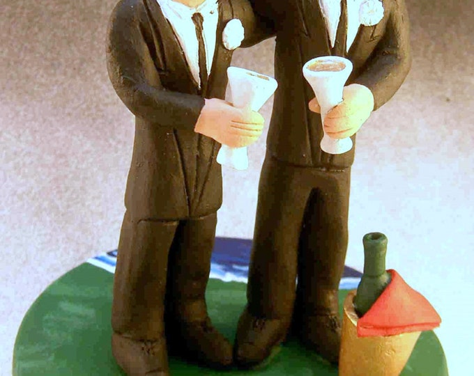 Same Sex Men's Wedding Cake Topper,Gay Wedding Cake Topper, Wedding Cake Topper for Gay Men, Two Grooms Wedding Cake Topper, Gay Figurine