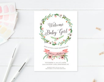 Baby Shower Invitation, Pink Baby Shower Invitation, Girl Baby Shower Invitation, Printable Baby Shower Invite, Baby Girl Baby Shower [330]