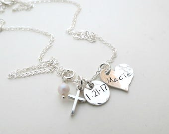 Personalized Necklace with Cross - Baptism Date - First Communion Gift - Godmother Gift - Mother - Grandma - Nana - Childs Necklace