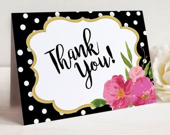 Thank You Note Cards, Note Card Set of 10 with Envelopes