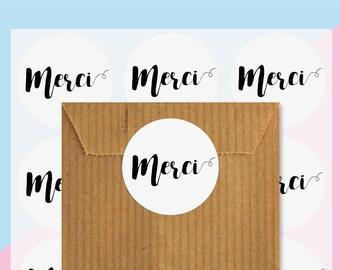 Étiquettes cadeaux merci, Autocollant rond, Stickers merci, sceaux autocollant, Emballage cadeaux, Packaging stickers
