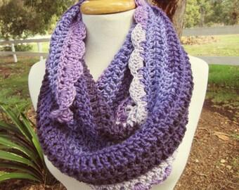Purple Winter Knit Scarf - Striped Infinity Scarf - Striped Wool Loop Scarf