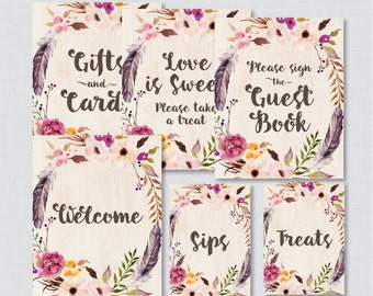 Boho Bridal Shower Table Signs - Printable Bohemian Bridal Shower Decorations - Welcome Sign, Favors Sign, etc - Flowers and Feathers 0006