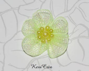 5 x pearls and yellow organza fabric flowers