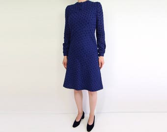 VINTAGE Dress 1960s Floral Dress Blue Embroidered Longsleeve Extra Small