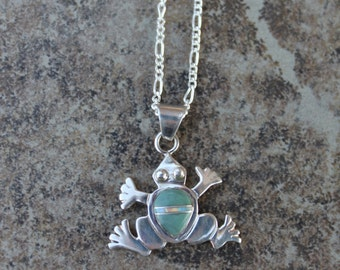 """Green Turquoise Frog 18"""" Necklace in Sterling Silver"""