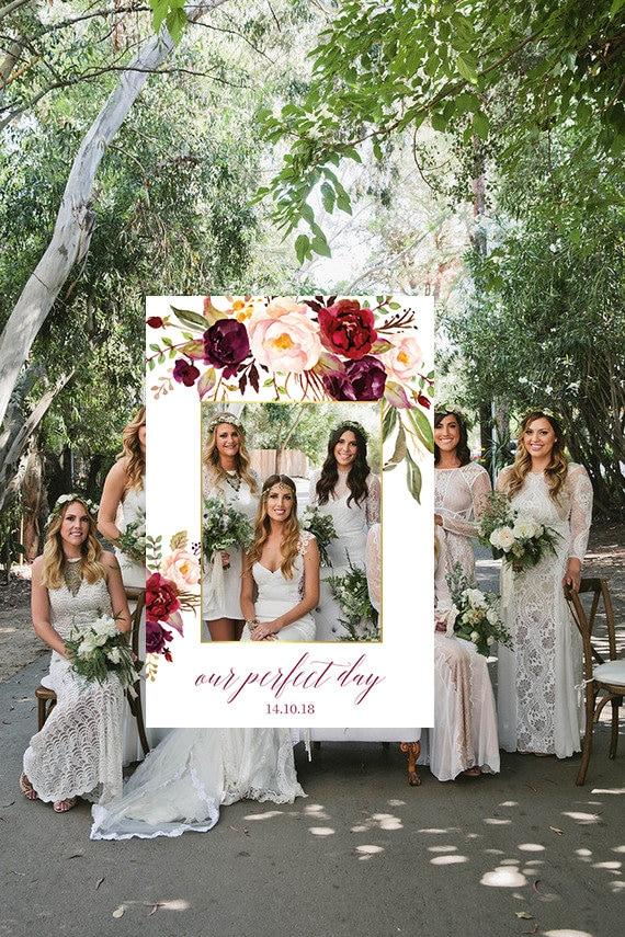wedding photo booth frame wedding photo prop floral wedding