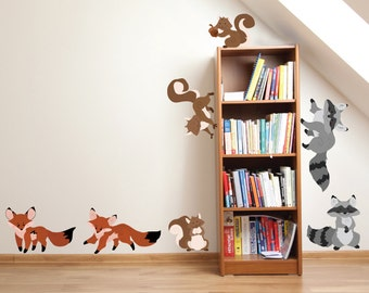 Fox Raccoon Squirrel Wall Decals - Forest Family Fabric Wall Decals
