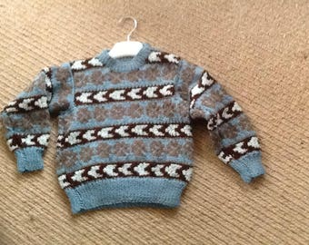 Hand knitted fair isle sweater for 2-4 year old