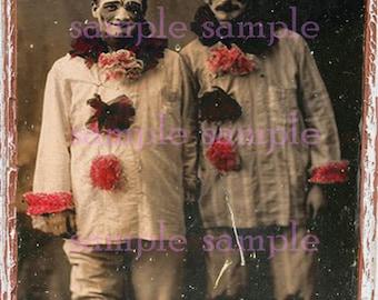 Verkauf Scary Clowns sofortigen digitalen Download - Halloween Clown Printable - Collage Blatt beängstigend Weird ungerade Vintage Fotografie - Art Print no816