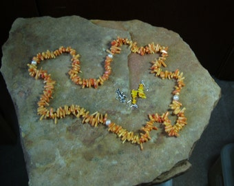 Natural Untreated AAA Grade Quality Yellow/Orange Sea Coral, Necklace and Earrings