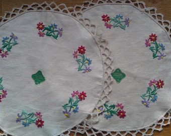 Two Irish Linen Hand Embroidered Mats
