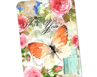 Tags, Floral Tags, For You, Gift Tags, Roses, Butterfly, Party Favors