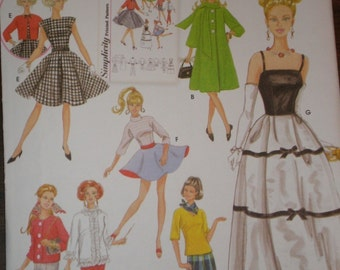 Vintage Look BARBIE DOLL CLOTHES Pattern From The Archives Evening Gown Coat Skirt Top Dress Simplicity  5785 Uncut