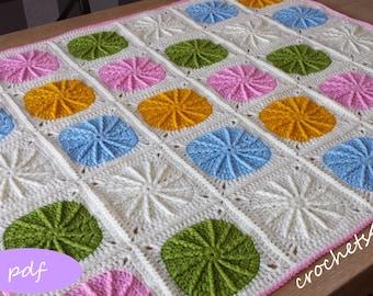crochet pattern, circle afghan, crochet blanket pattern, baby blanket pattern
