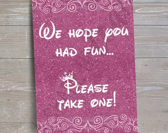 "Disney Princess ""Please Take One"" Sign v1 // INSTANT DOWNLOAD // Party Decor // Printable, Digital"