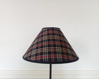 "Lampshade ""Braveheart"" tartan cotton canvas. Black. 25 x 8 x 15 cm"