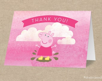 "Peppa Pig // George Pig // Birthday Thank You Card // Folded or Flat // - A2 card size - 4 1/4"" x 5 1/2"""
