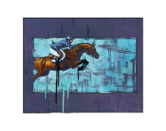 Horse Art - Matted Print of Original Oil Painting - Horses, Equine, Equestrian, Rider, Riding, Racing, Animal Lovers, Water, Dramatic Art