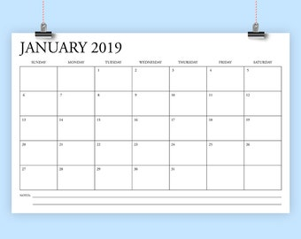11 x 17 Inch 2019 Calendar Template | INSTANT DOWNLOAD | Classic Serif Type Monthly Printable Minimal Desk or Wall Calender | Print Ready