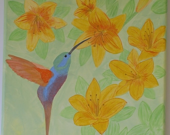 Pearlescent bird portrait: Hummingbird feeding from lilies - Original acrylic painting on canvas - Art for spring/summer wall decoration