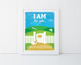 """Religious Poster, Wall Print, Instant 11x14"""" Digital Download – I AM the gate – John 10:9"""