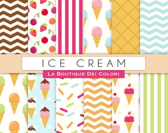 Ice Cream digital paper.  Cute digital paper pack of Icecream backgrounds patterns for commercial use clipart