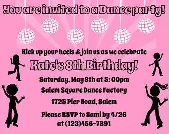 Dance Party Invitation  -  (Digital File)