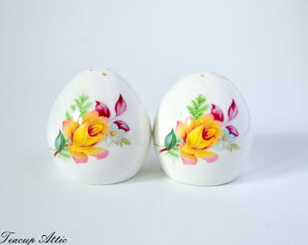 Sanford Bone China Salt and Pepper Shakers With Yellow Rose, Wedding Gift, Replacement dinnerware