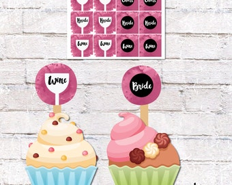 Cupcake Toppers and Cake Bunting for Wine Theme Bridal Shower. Cupcake and Cake Decor. Printable / DIY.  *DIGITAL DOWNLOAD*