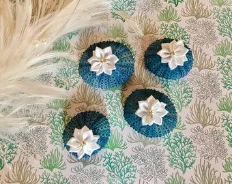 Wedding Decor, Table Decor, Blue Sea Urchins, Set of 4 pieces, Home Decor, Nautical, Coastal Decor, Floral Decor, Seashell,Shell,Beach Decor