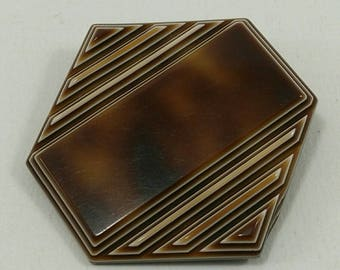 Vintage brown hexagonal brooch pin, art deco brooch pin