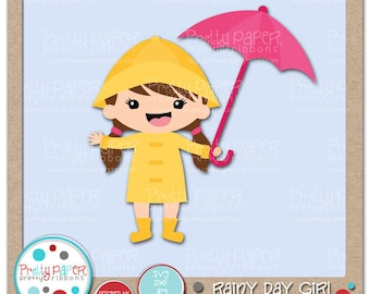 Rainy Day Girl Cutting Files & Clip Art - Instant Download
