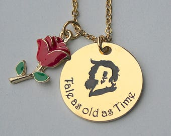 Beauty and the Beast, Tale as old as Time , Stainless Steel Gold Charm, Gift For Her,  Gold Steel Disney Necklace ,Disney Jewelry,