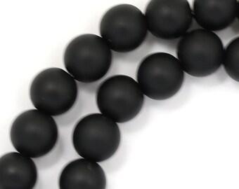 Black Onyx Beads - Matte Finish - 8mm Round