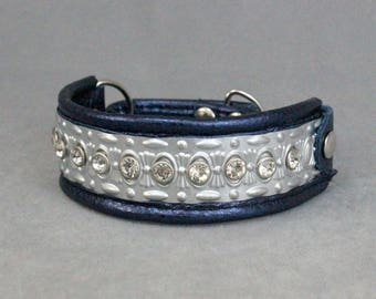 Metallic Navy Blue, Silver, and Swarovski Crystal Leather Martingale Dog Collar