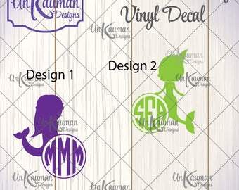 Mermaid with Circle Monogram 2 Designs to Choose from Iron On Vinyl Decal