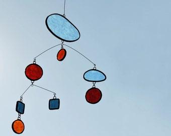 Mobile,Red Mobile,Beach home decor,Glass mobile,Suncatcher,Glass suncatcher,Children mobile,Baby mobile,Baby gift,En Bleu et Verre