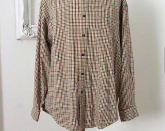 Vintage Gap Tiny Check Green and Tan Plaid Long Sleeve Shirt Men Sz L