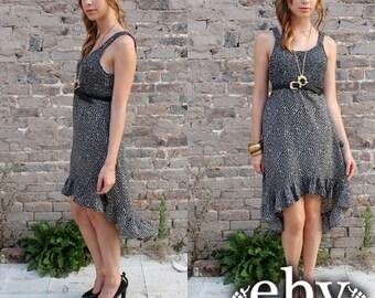 Vintage 90s Black Floral Ruffle Sun Dress S M High Low Dress Fishtail Dress Tuxedo Dress Mullet Dress Festival Dress Summer Dress