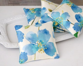 Blue Tropical Hibiscus Lavender Sachets, Scented Drawer Sachets
