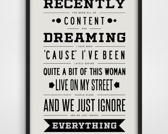 Typographic Print, Recently, Dave Matthews Band, Music Typography, Song Lyrics, Typography Poster, Song Lyric Art, DMB.