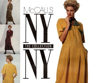 McCall's 6188 NY COLLECTION Womens Drop Waisted Dress 90s Vintage Sewing Pattern Size 12 Bust 34 inches UNCUT Factory Folded